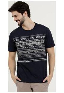 Camiseta Masculina Estampa Étnica Manga Curta Mr