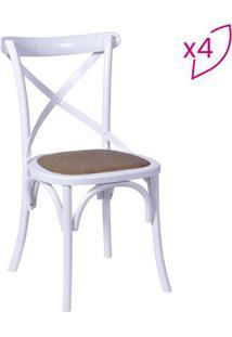 Jogo De Cadeiras Cross- Branco & Bege Escuro- 4Pã§S