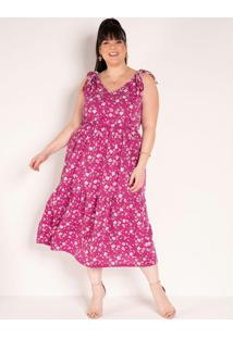 Vestido Floral Pink Com Amarração Plus Size