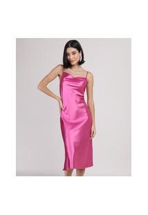 Vestido Slip Dress Feminino Midi Acetinado Alça Fina Gola Degagê Pink