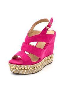 Sandália Anabela Ellas Online Salto Alto Pink