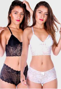 Kit 5 Conjunto Baby Doll Espera Marido Zyon Short Doll Renda