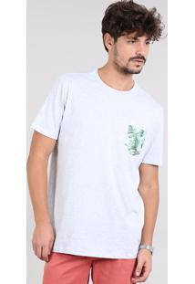 Camiseta Masculina Com Bolso Estampado De Folhagem Manga Curta Gola Careca Cinza Mescla Claro
