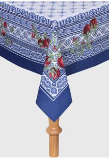 Toalha De Mesa Sempre Limpa Romana Estampada 160 X 270 Cm Azul/Branca - Azul - Dafiti
