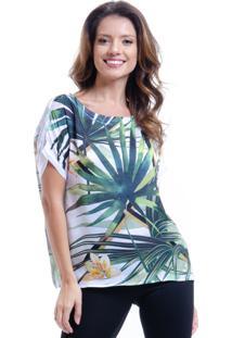 Blusa 101 Resort Wear Tipo T-Shirt Ampla Decote Careca Cetim Estampada Folhas