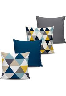 Kit 4 Capas Almofadas Geometrica Multi Triangulos Azul 45X45 - Tricae