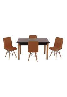 Conjunto Mesa De Jantar Luiza 135Cm Preta Com 4 Cadeiras Gomos - Marrom