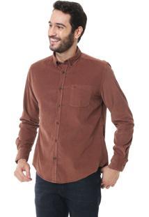 Camisa Aramis Slim Fit Veludo Cotelê Caramelo