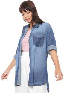 Camisa Jeans Triton Recortes Azul