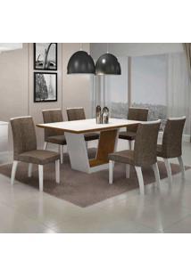 Conjunto De Mesa Com 6 Cadeiras Alemanha Ii Branco E Marrom