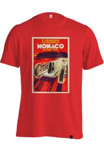 Camiseta Fórmula Retrô Vintage Monaco 1930 Poster - Masculino