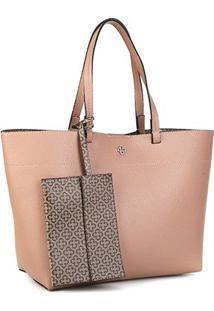 Bolsa Capodarte Soft Relax Monograma Shopper Feminina - Feminino-Rosa+Bege