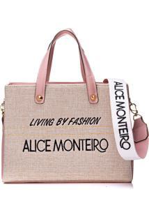 Bolsa Alice Monteiro Bordado Frase - Rosa