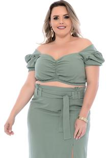 Top Cropped Plus Size Princesa Verde Join Curves