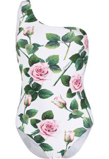 Dolce & Gabbana Maiô Com Estampa De Rosa - Branco