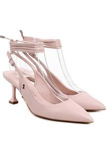 Scarpin Couro Santa Lolla Chanel Amarração Salto Médio - Feminino-Rosa