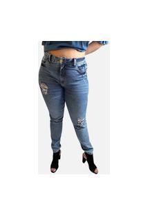 Calça Plus Size Rasgada Jeans