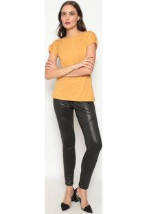 Blusa Lisa Com Franzidos - Amarelo Escuro - Dedikadedika