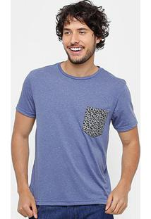 Camiseta Tigs Bolso Micro Print Masculina - Masculino-Azul