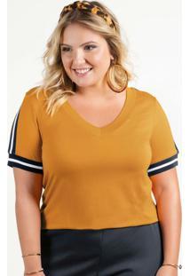 Blusa Em Viscose Com Retilínea Amarelo