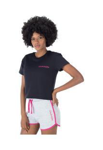 Blusa Cropped Moletinho Calvin Klein - Feminina - Preto/Rosa