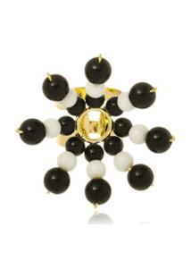 Anel Le Diamond Flor De Resinas Preto E Branco