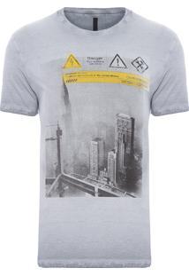 Camiseta Masculina Dupla Face Laterais - Cinza