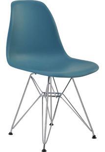 Cadeira Sem Braço Pp Base Cromada Eiffel -Rivatti - Verde Petroleo