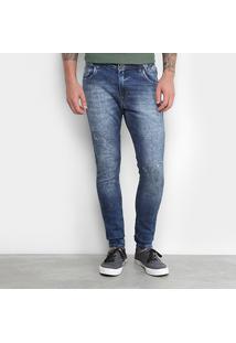Calça Jeans Skinny Gangster Marmorizada Escura Elastano Masculina - Masculino-Azul