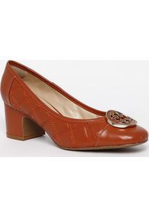 Sapato Tradicional Em Couro Com Pespontos - Laranja-Capodarte