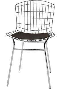 Cadeira Trama Vinil Pc220-Pozza - Cacau Cromado