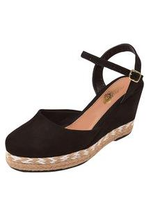 Sandália Uzze Sapatos Salto Anabela Preta