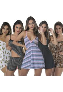 Kit Com 3 Baby Doll Thais + 2 Camisola Sexy Love