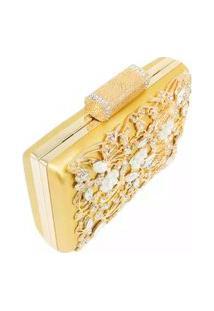 Bolsa Clutch Liage Festa Pedraria Pedra Brilhante Cristal Strass Metal Strass Dourada