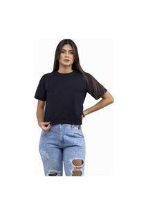 Cropped Feminino Camiseta Lisa Em Malha Confort Preto