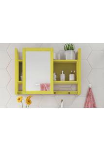 Espelheira / Gabinete Com Espelho Para Banheiro - Armário Aéreo Com Espelho Aquiles - Cor Amarelo - 60X86 Cm