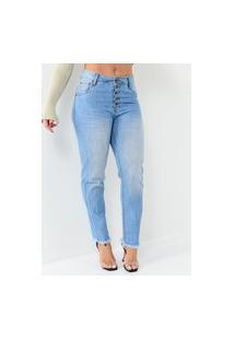 Calça Dardak Jeans Mom Botões Frontal