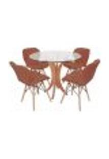 Conjunto Mesa De Jantar Tampo De Vidro 90Cm Com 4 Cadeiras Slim - Marrom
