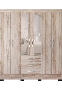 Guarda-Roupa Casal Com Espelho Barcelona 6 Pt 3 Gv Marrom Claro E Branco