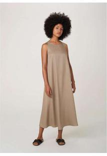 Vestido Midi Sem Manga Evasê Em Tecido Marrom