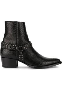 Amiri Studded Snake Effect Ankle Boots - Preto