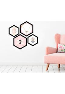 Kit 4 Quadros Com Moldura Hexagonal Abstract Pink