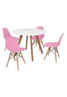 Mesa Inês 100Cm Branca + 4 Cadeiras Eames Eiffel - Rosa