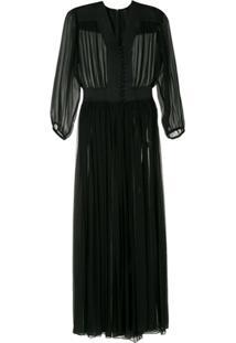 Andrea Bogosian Vestido Sayama Couture De Seda - Preto