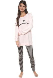 Pijama Cor Com Amor Estampado Rosa/Cinza