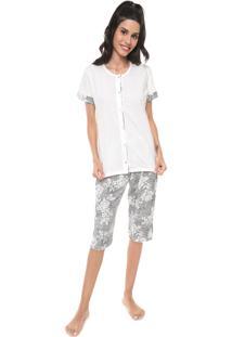 Pijama Pzama Estampado Off-White/Preto