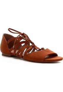 Rasteira Shoestock Nobuck Lace - Feminino-Caramelo