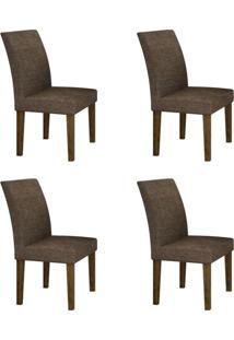 Conjunto Com 4 Cadeiras Olímpia Ipê E Linho Marrom