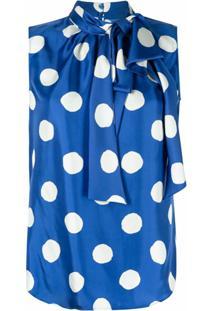 Moschino Blusa Com Poás - Azul