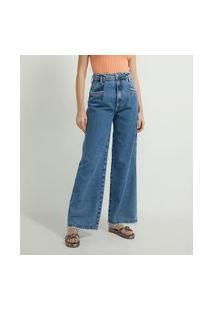 Calça Wide Leg Jeans Estampa Bordada Com Palavras De Carinho